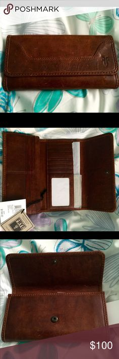 "FRYE WALLET, The Melissa trifold BNWT, The Melissa trifold wallet is 100% antique leather, 16 CC slots, total,  Front Snap Closure.  Wallet measures 4"" x 7.5"" The FRYE wallet is known for being strong and elegant, has plenty of room for cards, business cards, and separate for your cash. beautiful Dark Brown. Extremely Durable. Will match with any color handbag!!  Frye Bags Wallets"