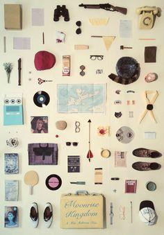 Una obra original de tamaño A3 para Moonrise Kingdom de Wes Anderson, de recrear objetos únicos de la película.  Dimensiones = 420 x 297 mm