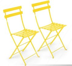 YELLOW METAL CAFE FOLDING CHAIR    Product #: CHA-007-YEL  Dimensions: 14 3/4'' SQ x 32 1/2 H''; Seat 15''SQ x 18''H  Pieces Avail: 8 Outdoor Furniture Chairs, Fire Pit Furniture, Patio Chairs, Office Chairs, Garden Furniture, Furniture Design, Metal Bistro Chairs, Decoration Originale, Bright Colours