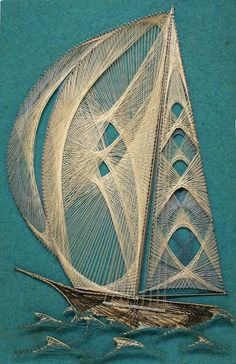 Vintage String art Ship Boat Wall Nautical Decor via Etsy ~~ The question is . am I talented and patient enough to duplicate this? String Art Diy, String Crafts, Arte Linear, Art Du Fil, String Art Patterns, Thread Art, Inspiration Art, Art Plastique, Oeuvre D'art