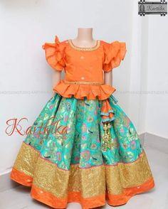 Baby Girl Dress Design, Girls Frock Design, Kids Lehanga Design, Lehanga For Kids, Indian Dresses For Kids, Dresses Kids Girl, Baby Girl Party Dresses, Kids Dress Wear, Kids Gown