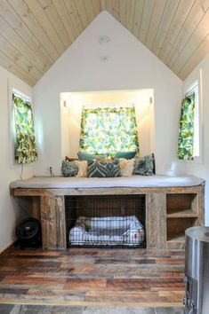 A cozy modern/rustic tiny home, featured on Tiny House Nation, and currently available for sale in Wisconsin. Modern Tiny House, Tiny House Living, Tiny House Plans, Tiny House Design, Modern House Design, Cozy House, Modern Interior Design, Interior Ideas, Interior Architecture