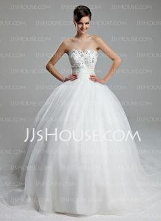 Wedding Dresses - $198.29 - A-Line/Princess Sweetheart Chapel Train Satin Tulle Wedding Dresses With Beadwork (002011973) http://jjshouse.com/A-Line-Princess-Sweetheart-Chapel-Train-Satin-Tulle-Wedding-Dresses-With-Beadwork-002011973-g11973