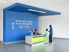 The vibrant blue found at the main campus is used throughout the building as a unifying branding element. Photo: Alise O'Brien Photography | PHOTO TOUR: St. Louis Children's Hospital Specialty Care Center | Healthcare Design