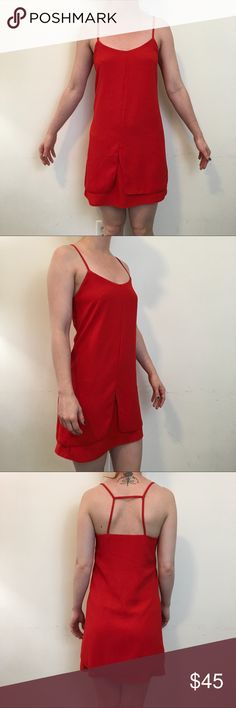 Topshop Red Sleeveless Caged Mini Dress Topshop Dress red and is Sleeveless with lining and a Caged like back! Topshop Dresses