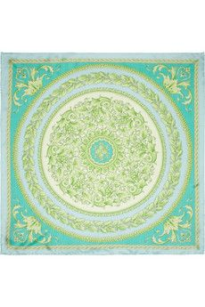 Every girl needs a few beautiful silk scarves -- this one from Versace is very of-the-moment in minty shades of aqua and green.