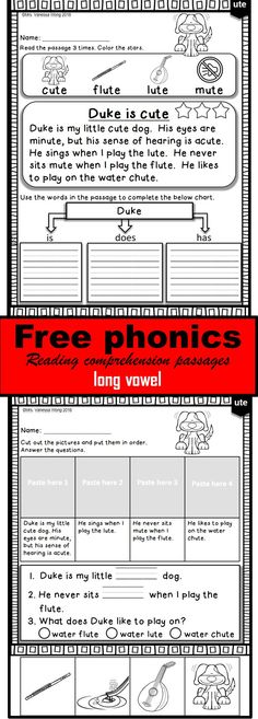 FREE PHONICS READING COMPREHENSION PASSAGES  AND ACTIVITIES : Long vowels passages and activities for vocabulary, fluency & reading comprehension, and story sequence.  Different reading strategies and grammar skills are included: Compare and contrast Characters and setting Main idea and details