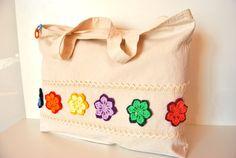 Canvas Tote bag Colorful flowers tote bag by Lemiecreazionidarte