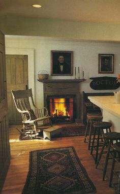.I like that this appears to be an open floor plan but they stayed with the colonial/prim decor. I also love the smaller fireplaces just tucked in off to the side. Makes for a cozy cup of tea and doesn't overwhelm the room.