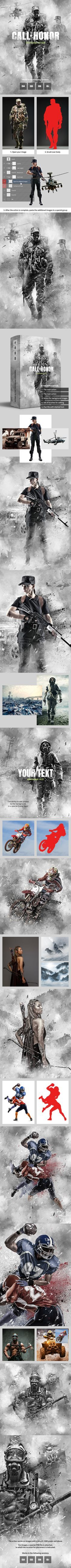 Call of Honor Photoshop Action — Photoshop ATN #sand #gray • Available here ➝ https://graphicriver.net/item/call-of-honor-photoshop-action/21096508?ref=pxcr