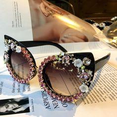 19139ed9c4 2018 Sunglasses Women Luxury Brand glasses Jewelry Decoration Cat Eyes  Sunglasses Vintage Shades Eyewear Oculos Dropshipping