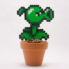 Plants vs Zombies Pea Shooter Inspired Potted Perler Bead Sprite with Pixelated Dirt || Pottery, Geekery, Decoration, Gaming