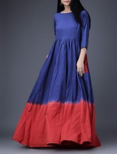 Blue-Red Cotton Dress with Gathers
