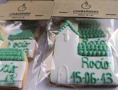 galletas decoradas lombardero: comunion iglesia verde