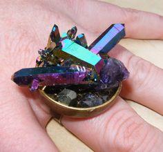 Metaphysical Magic Gemstone Cluster Statement Cocktail Ring