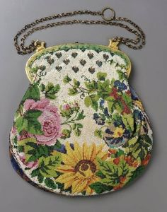 Western European Bag 1820-1850 @ MFA Boston - display your vintage handbags in your living room or walk in closet. Living room is more fun.
