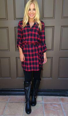 Plaid Behavior Dress With Belt - RED & NAVY