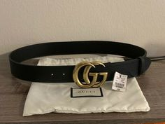 3e139dd4962 Black Gucci Belt with gold GG buckle Size 95 cm  fashion  clothing  shoes