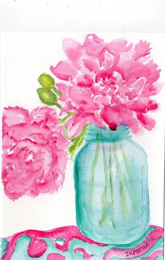 Pretty Pink  Peonies in Aqua Canning Jar Floral Watercolor Painting, Original Flowers painting via Etsy.