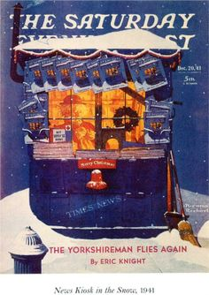 News Kiosk in the Snow - Decemberer 20, 1941 Norman Rockwell Saturday Evening Post