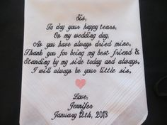 Free Gift Box Included.Personalized Wedding Handkerchief for the SISTER. Embroidered Gift., $24.00
