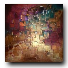 Original Abstract Art by C A Jasper - Textured Gold and Purple contemporary abstract painting on canvas - Ready to hang