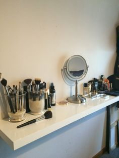 The start to my makeup vanity area. Floating shelf from Bunnings Warehouse. So easy to install.