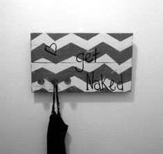 Pallet Sign, Bathroom Decor, Chevron Pallet Sign, Handpainted Pallet Sign Get Naked on Etsy, $45.00
