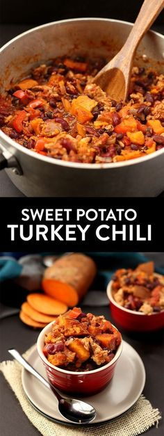 Lightened-up chili using ground turkey and sweet potato! This Sweet Potato Turke. - Lightened-up chili using ground turkey and sweet potato! This Sweet Potato Turkey Chili can be made - Chili Recipes, Soup Recipes, Detox Recipes, Fall Recipes, Recipies, Turkey Sweet Potato Chili, Sweet Chili, Sweet Potato Soup Healthy, Ground Turkey And Sweet Potato Recipe