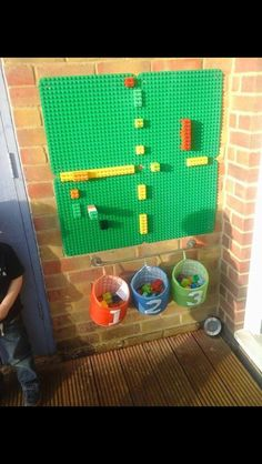 Our duplo wall we use it to count on, create patterns and just build. A great r… – natural playground ideas