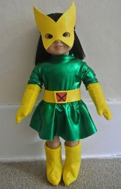 Super Hero costume - Marvel Girl parody for 18 inch doll by Geiser-Weaver Associates, LLC American Dolls, American Girl Clothes, Girl Doll Clothes, Super Hero Costumes, Girl Costumes, Costume Ideas, Rainbow Dash Party, Little Pony Party, Super Girls