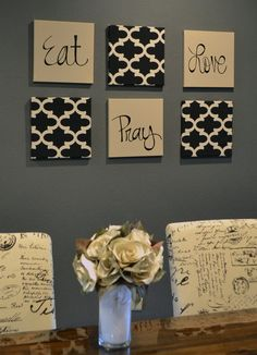 Eat Pray Love Wall Art Pack of 6 Canvas Wall by GoldenPaisley