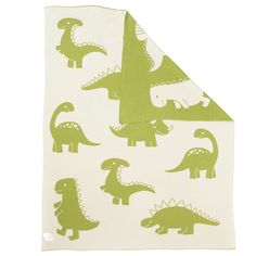 BuyJohn Lewis Dino Baby Pram Blanket, Green/White Online at johnlewis.com