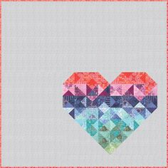 """= free pattern = Latitude batik heart quilt, 70 x 70"""", at United Notions (PDF download). Featured at Quilt Inspiration."""