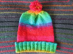 Knit Slouchy Noro Hat  Bright Rainbow Gradient by SpacerobotStudio