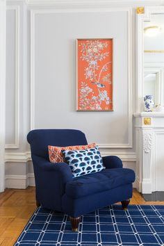 Peti Lau Designs | Bold contrast of rich orange and blue hues | Bungalow 5 Orange Sunset Silk Panels