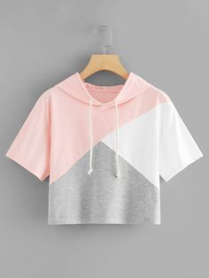 Color Block Hooded Crop Tee - French Shirt - Ideas of French Shirt - Color Block Hooded Crop TeeFor Women-romwe Cute Comfy Outfits, Cute Girl Outfits, Pretty Outfits, Stylish Outfits, Girls Fashion Clothes, Teen Fashion Outfits, Outfits For Teens, Mode Hipster, Belly Shirts