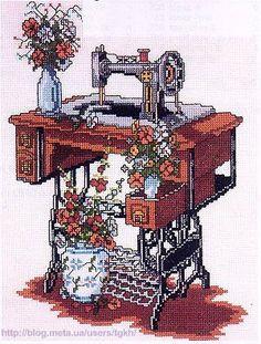 Old sewing machine cross stitch Counted Cross Stitch Patterns, Cross Stitch Designs, Cross Stitch Embroidery, Lazy Daisy Stitch, Cross Stitch Pictures, Cross Stitch Needles, Sewing Art, Cross Stitch Flowers, Cross Stitching