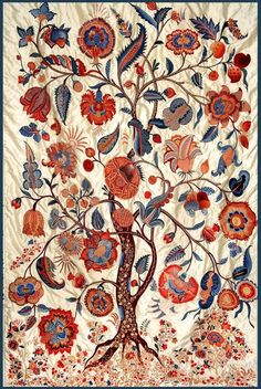 Embroidered tree of life, India Motifs Textiles, Vintage Textiles, Textile Patterns, Textile Art, Tree Of Life Art, Tree Art, Pattern Art, Pattern Design, Motif Art Deco