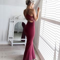 Dressywomen offers high quality Mermaid Style Long Spaghetti Straps Open Back Prom Dress with Lace Beading, Only $128.99. We have more styles for Mermaid Prom Dresses.