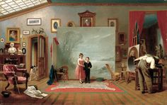 Thomas Le Clear (American, 1818–1882)  Interior with Portraits, ca. 1865