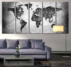 Canvas Print Black And White World Map Wall Art Ready To Hang - Grey world map canvas