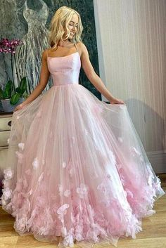 Pink tulle applique long prom dress, pink tulle evening dress,school event dress,evening dress · Grace Girls Dress · Online Store Powered by Storenvy Prom Dresses Long Pink, Straps Prom Dresses, Pretty Prom Dresses, Flower Dresses, Elegant Dresses, Homecoming Dresses, Sexy Dresses, Wedding Dresses, Dress Prom
