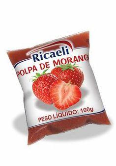 A Polpa de Fruta Ricaeli no sabor Morango é um produto 100% Natural, é Distribuída pela Fruit Mix nas embalagens de 100g e 1Kg (10 unidades de 100g)