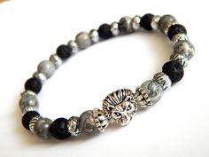 Bracelet homme Lion pierres fines de jaspe paysage et lave noir avec perles…