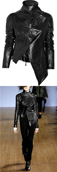 Aminaka Wilmont | Asymmetric leather jacket