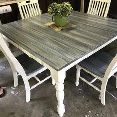 Chalk Painted Table And Chairs Used Rust Oleum S