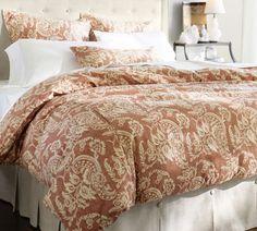Alessandra Floral Reversible Duvet Cover & Sham - Red | Pottery Barn