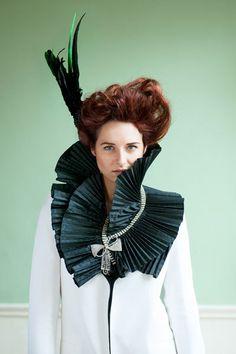 Black Green Bird of Paradise fascinator hat - gothic hair - millinery- dark fashion