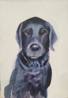 """Day 2 At your Service 5""""x7""""  acrylic on wood by Sandra Iafrate Inspiration: I was visiting a friend who has the most beautiful service dog, Phin. He posed obediently for me and I was able to make this little study."""